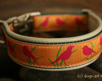 "Dog Collar ""Birdies"" by dogs-art, floral dog collar, leather dog collar, dog collar, dog collar leather, metal buckle collar, collars"