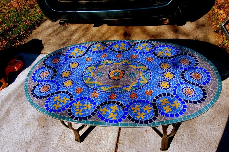 SOLD Blue Glass Mosaic Coffee Table Handcut Glass Tile on