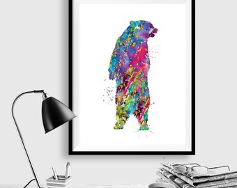 Woodland Bear Print Watercolor Painting Print Grizzly Bear Art Watercolour,Illustration,home decor wall art,bear art, watercolor animal WT30