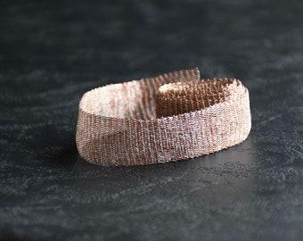 Titanium Tubular Mesh Ribbon. Mesh Wire. Titanium Mesh. Wire Lace . Silver. Dark Red. 1 mt. Ribbon Supplies- AC 003