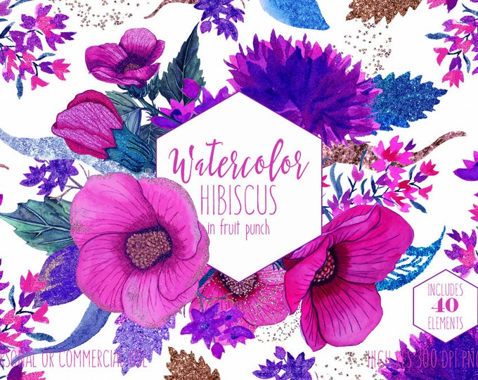 TROPICAL WATERCOLOR FLOWERS Clipart Summer Beach Floral Clip Art for Commercial Use Bright Pink Hibiscus Flower Wreaths Rose Gold Graphics