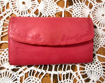Pink leather wallet Billfold  cards and change women wallet