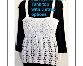 Crochet Tank Top, crochet pattern, Summer tops, Summer Sweater, all sizes child to 4xl, make any size, #2215yt