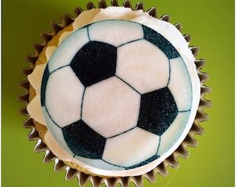 Edible Football Cake Toppers, Edible Cupcake Toppers, Wafer Paper, Icing Paper, Sport Cupcake Topper, Football Party