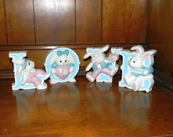 Burwood LOVE Bunny Rabbit Wall Plaques - Children's Room Decor - Baby Nursery Decor