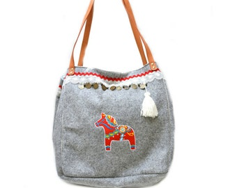 large tote bag embroidered with a Swedish dala on wool and folk grey