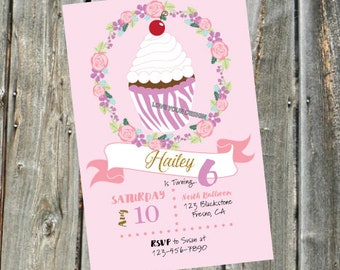 Zebra Cupcake Birthday Invitation Custom Easily Personalize YOU PRINT Animal Jam