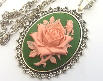 English Rose Necklace, Flower Necklace, Rose Cameo Necklace, Green and Pink Rose Necklace in Silver or Bronze