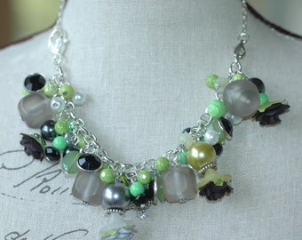 Lime Green Black and Grey Convertible Charm Bracelet and Choker Necklace , Cluster Charm Bracelet and Necklace in One