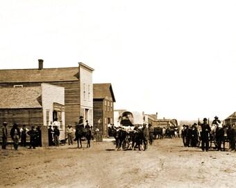 "1867 Wagon Train, Ellsworth, Kansas Vintage Photograph 8.5"" x 11"" Reprint"