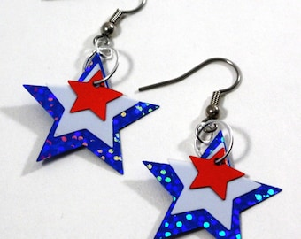 Patriotic Earrings Red White & Blue Star Spangle Earrings Holograms Dangle Plastic Sequin Jewelry