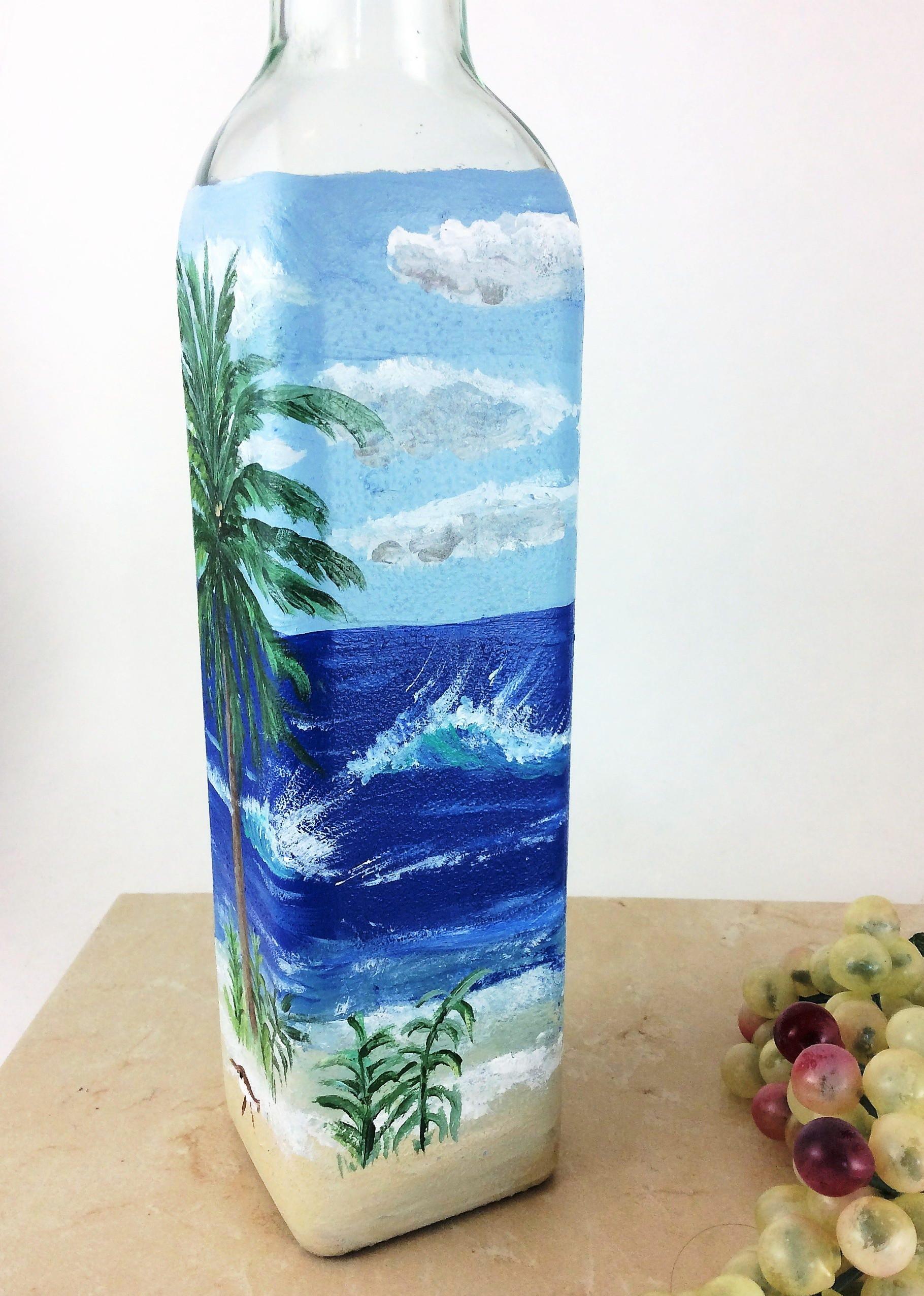 Olive Oil bottle hand painted, Olive Oil Dispenser, Oil and Vinegar ...