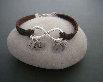 Friendship bracelet, Infinity Bracelet, Personalized initials Bracelet, Leather bracelet, engagement bracelets