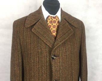 Vintage mens brown wool tweed coat 50s 60s