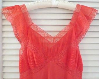Vintage Lady Duff Long Red Nylon and Lace Gown, Size 34-14 (Small), Honeymoon Gown