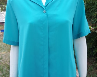 Vintage TEAL Button Up Short Sleeves Blouse