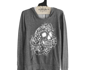 Womens S or M - Hooded Sweatshirt SOFT Pullover Hoodie Charcoal with Sugar Skull Screen print