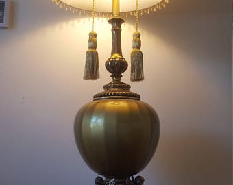 ON SALE, Vintage Lamp, Brass Angel Lamp, Brass And Glass Lamp, Glass
