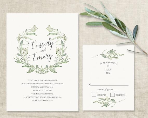 Wreath Leaves Wedding Invitations Greenery Leaves Wreath
