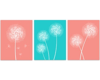 Dandelion Canvas Wall Art, Coral And Aqua Decor, Nursery Prints, Bathroom  Canvas,
