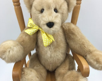 Teddy Bear, Ultra Soft, One of a Kind, Adorable, Child Friendly, Huggable, Traditional, Handmade, Tan, Fully jointed, Plush, For bear lovers