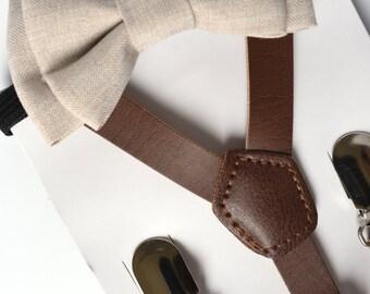 SUSPENDER & BOWTIE SET.  Newborn - Adult sizes. Dark brown pu leather suspenders. Ivory Chambray Bow tie