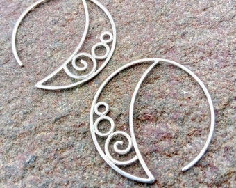 Silver Spiral Hoops (Stacked)