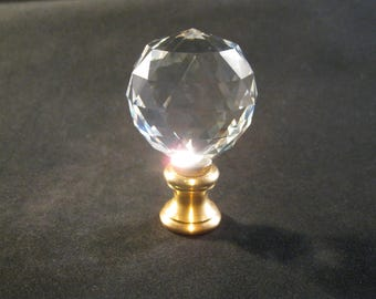Lamp Finial-Faceted clear CRYSTAL BALL lamp finial w/solid brass dual thread base