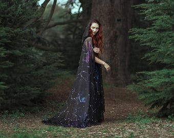 Constellations cloak in vegan silk chiffon Celestial Fashion Galaxy cape with hood handfasting medieval dark fantasy witch wizard costume