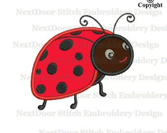 ladybug  embroidery applique design, insect machine  embroidery,  bg-001