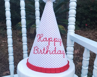 Red Bitty Dot Birthday Hat