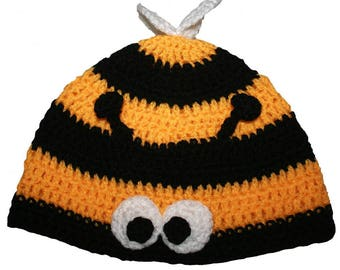 Hand Crocheted Bumble Bee Hat HH077