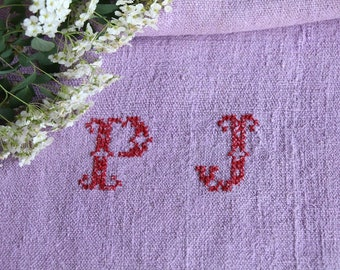 F 564: antique, handloomed, LILAC ;grainsack, pillow, cushion, runner, 47.24 long, monogram, upholstery project,french lin,decor