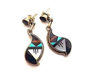 Vintage Zuni Sterling Silver Turquoise Coral Jet MOP Inlay Pierced Dangle Earrings Native American Old Pawn