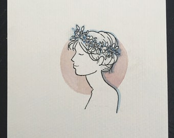 Illustration of Girl with Flower Crown// Watercolor Portrait Illustration//