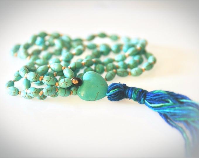 Mala Bead Tassel Necklace. Turquoise Magnesite Gemstones. Hand-Knotted Yoga Necklace