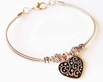 Black and Silver, Heart, Guitar String Bracelet, Guitar String Jewelry, Do Re Mi Bracelets, Gift for Musician, Love, Gift for Her, Love Gift