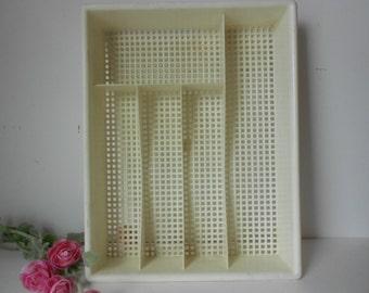 Reduced...Retro utensil tray plastic, white silverware tray, utensil holder 5 slot utensil drawer, mesh silverware tray