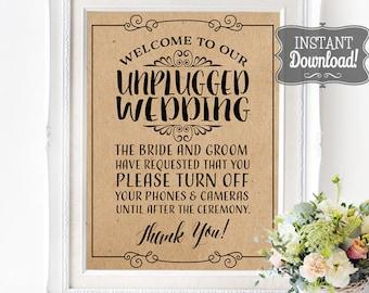Unplugged Wedding Poster - INSTANT DOWNLOAD - Wedding Art, Wedding Poster, No Social Media, No Cameras, No Phones Brown Kraft Paper Sign