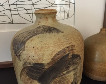 Mid Century Abstract Vintage Studio Pottery Vase Weed Pot