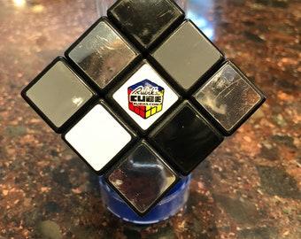 Silver & Black Metalic Rubiks Cube