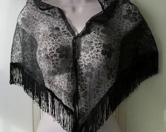 Vintage Small Nylon Lace Shawl / Wrap with fringe 132 cm x 58 cm