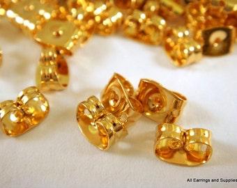 100 Gold Plated Stainless Steel Earnut Butterfly Earring Backs 6x4mm approx. 1mm hole - 100 pc - 5769-2