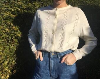 Vintage Cardigan Sweater - White