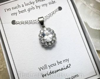 Bridesmaid Necklace, Zirconia Necklace, Bridesmaid Gift, Bridesmaid Necklace, Bridesmaid Jewelry, Cubic Zirconia Pendant, Rhodium Plated