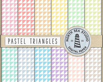 BUY5FOR8 Pastel Triangle Digital Paper Triangle Background Scrapbook Paper Geometric Pattern Pastel Background Printable Paper Download