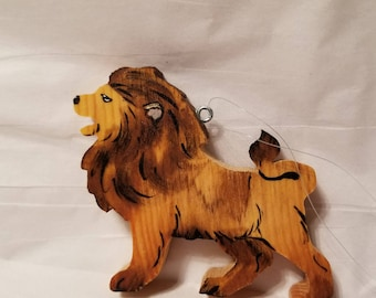 Wooden lion christmas ornament