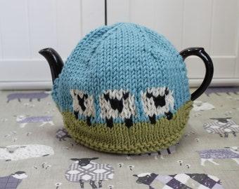 Field Scene Sheep Tea Cosy, Cozy - handmade medium size 100% natural fibres