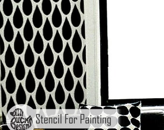 TEARDROP STENCIL - Modern Furniture Craft Floor Wall Stencil for Painting - TEAR01