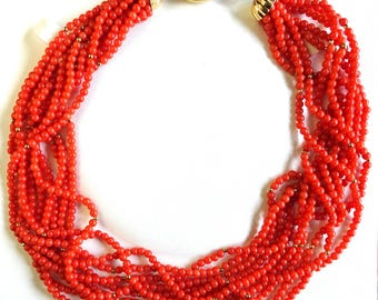 Vintage Italian Coral and Gold 10-Strand Torsade Necklace